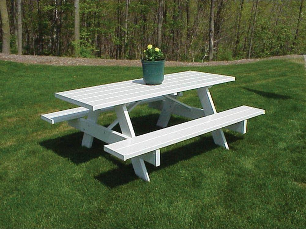 Dura trel traditional white plastic picnic table bench for Outdoor plastic bench seats