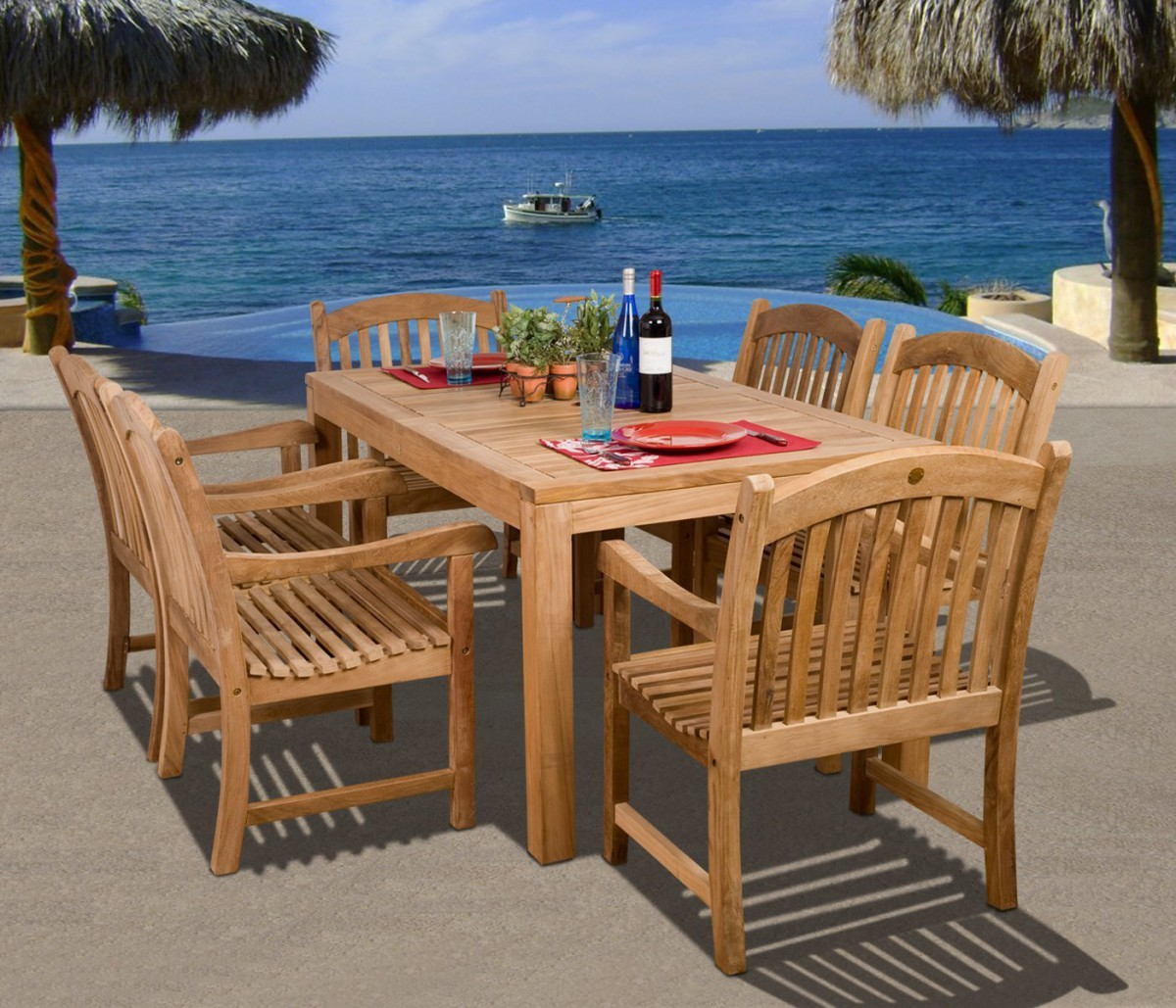 Amazonia Teak Oslo 7 Piece Rectangular Teak Outdoor Dining Set
