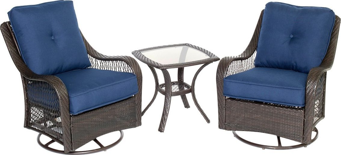 Hanover Orleans 3 Piece Outdoor Bistro Set With Swivel