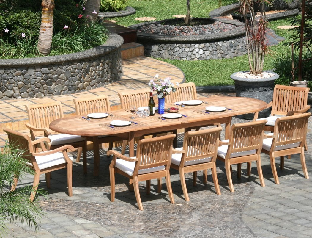 WholesaleTeak 11 Piece Grade-A Teak Dining Set with 117″ Oval Table and 10 Stackable Chairs