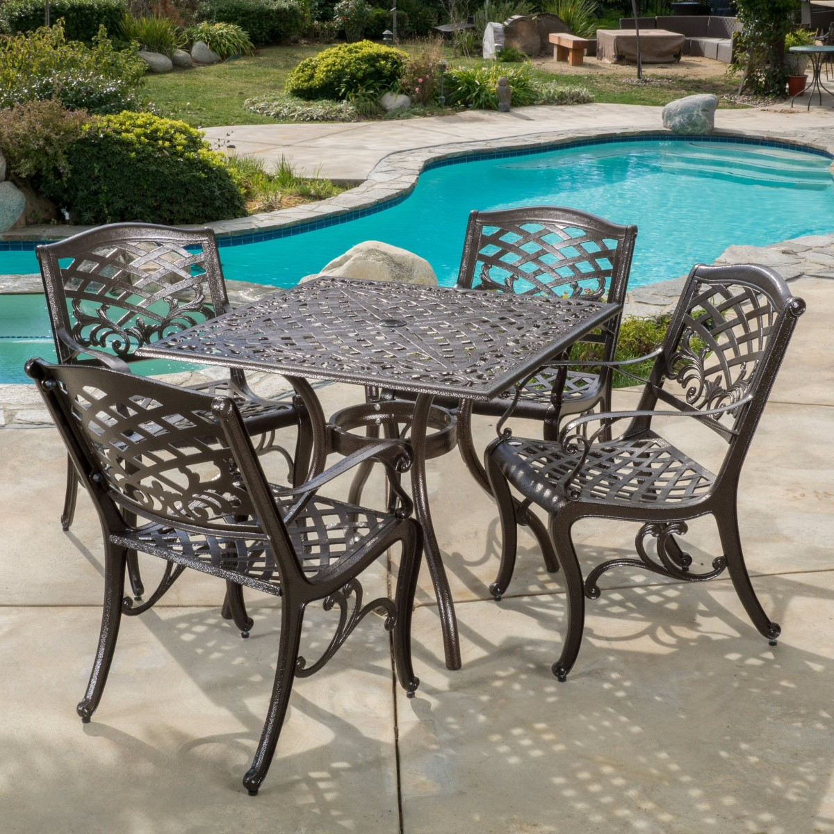 Odena Cast Aluminum 5 Piece Outdoor Dining Set With Square Table Patio Table