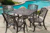 Odena Cast Aluminum 5 Piece Outdoor Dining Set with Square Table