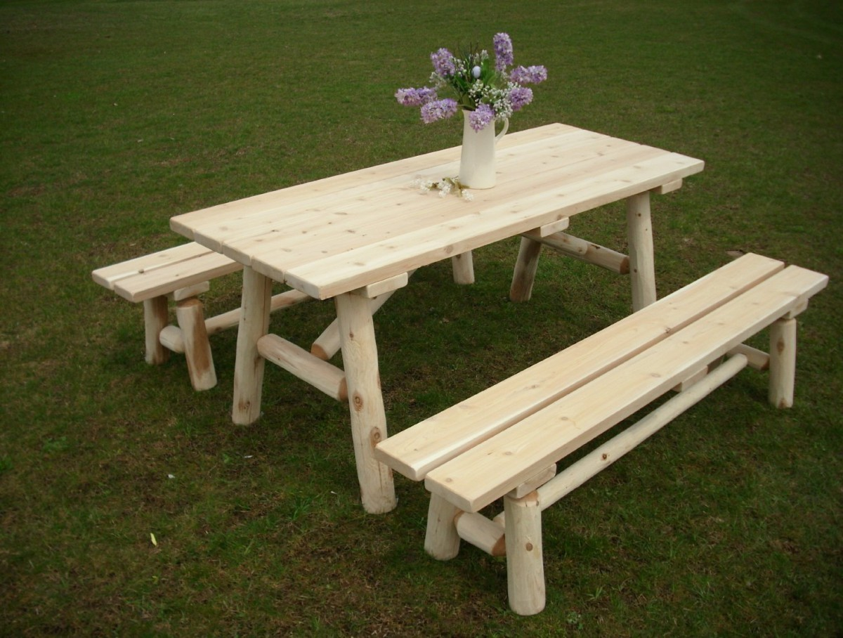 6 Foot Amish Cedar Log Picnic Table with Detached Benches