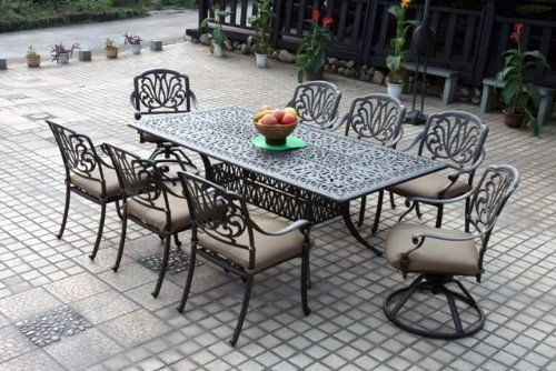 Darlee Elisabeth Cast Aluminum 9 Piece Patio Dining Set with Rectangular Table