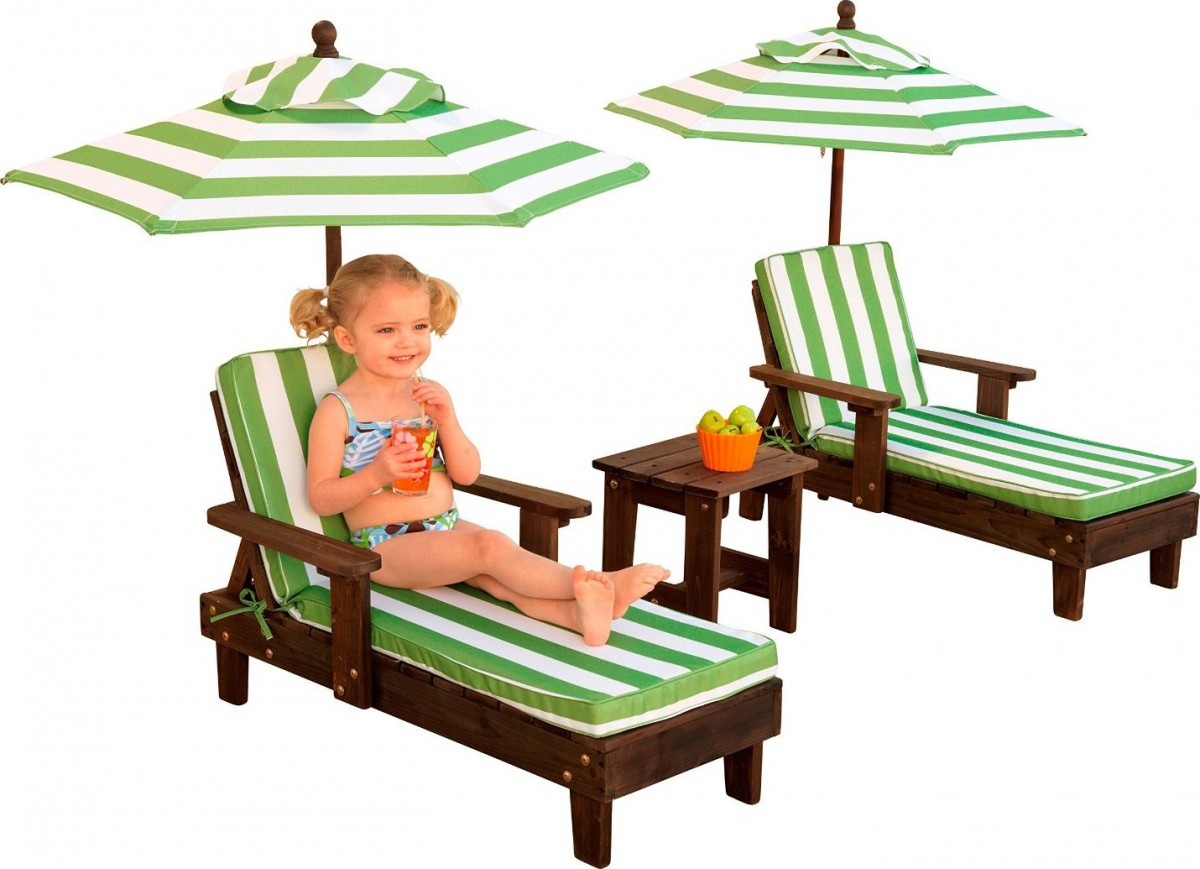Kidkraft Outdoor Chaise Lounge Chairs And Umbrella Set