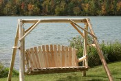 Lakeland Mills Outdoor Wooden Cedar Log Yard Swing Set
