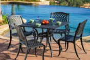 Marietta Cast Aluminum 5 Piece Outdoor Dining Set with Square Table