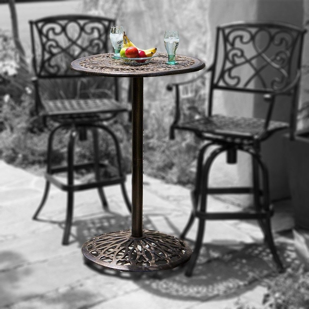 paris cast aluminum bar height outdoor bistro table