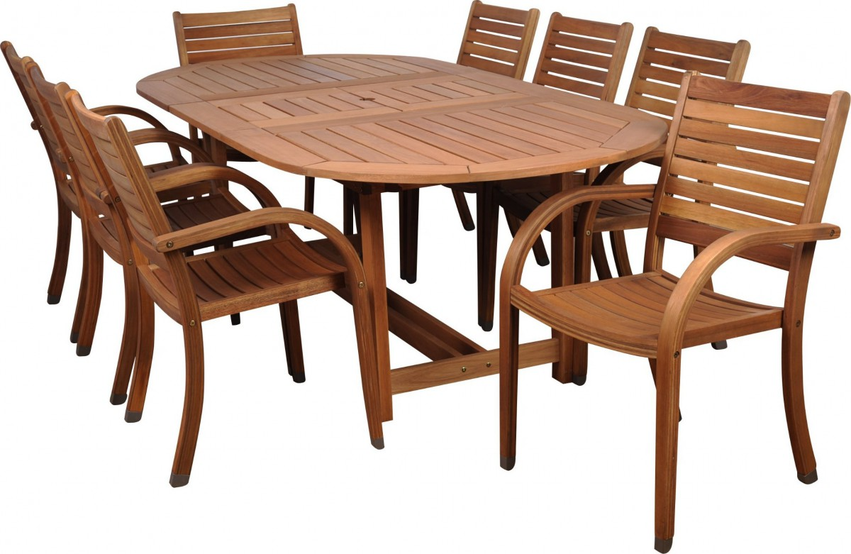Amazonia arizona 9 piece wood outdoor dining set with 93 for Wood patio table set
