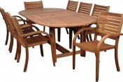 Amazonia Arizona 9 Piece Wood Outdoor Dining Set with 93″ Oval Table and 8 Stackable Chairs
