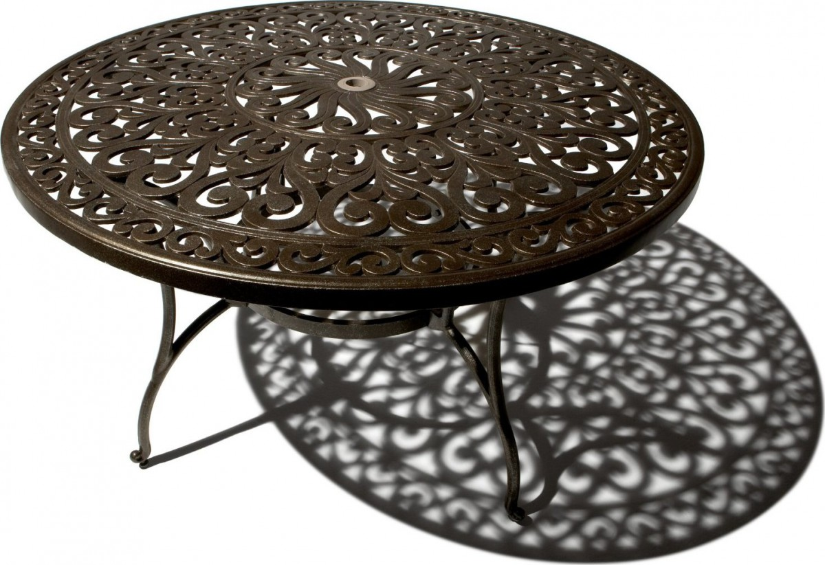 Strathwood st thomas cast aluminum round dining table for Patio furniture table