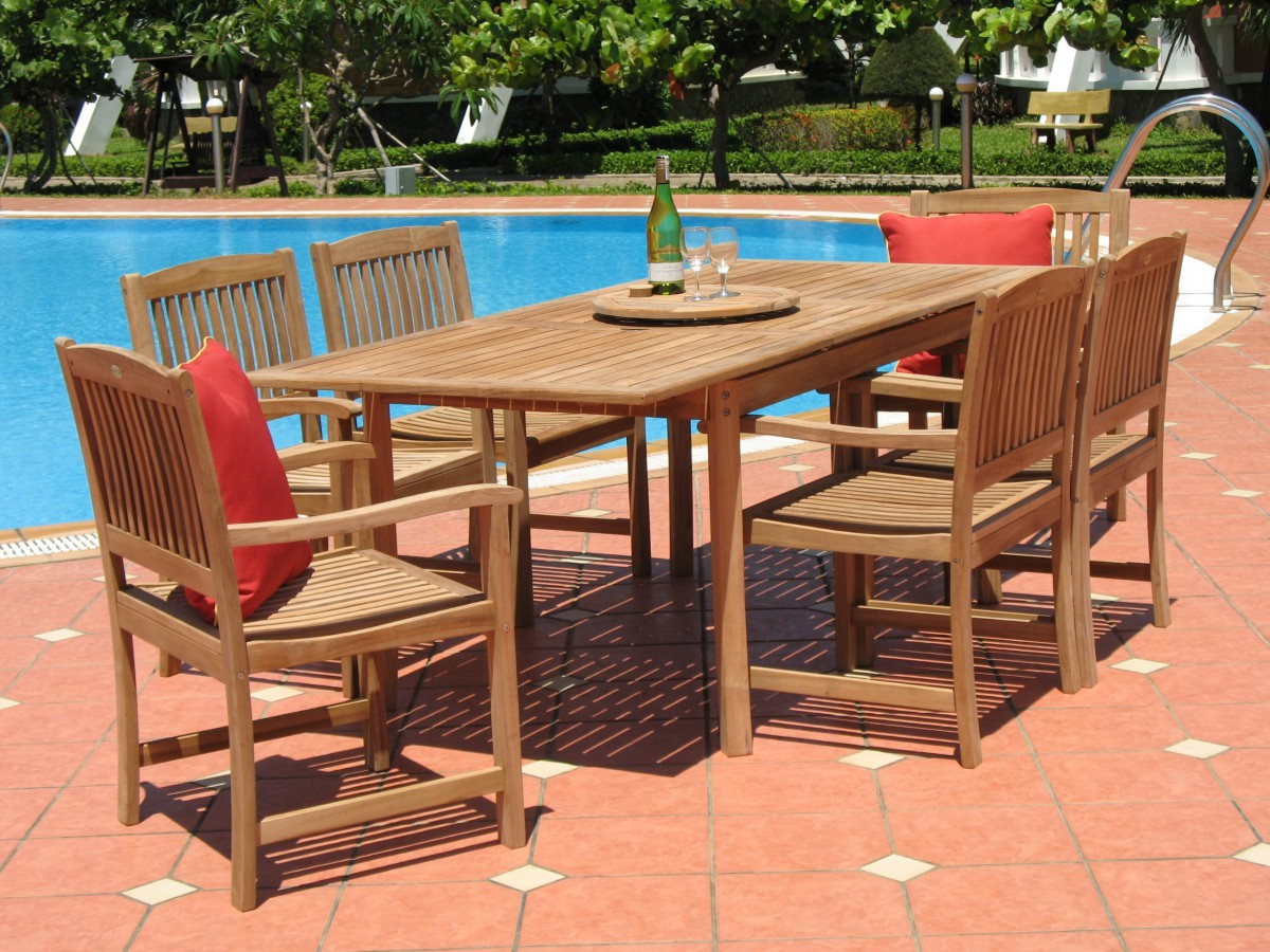 Pebble Lane Living Piece Teak Patio Dining Set Patio Table - Teak patio table with leaf