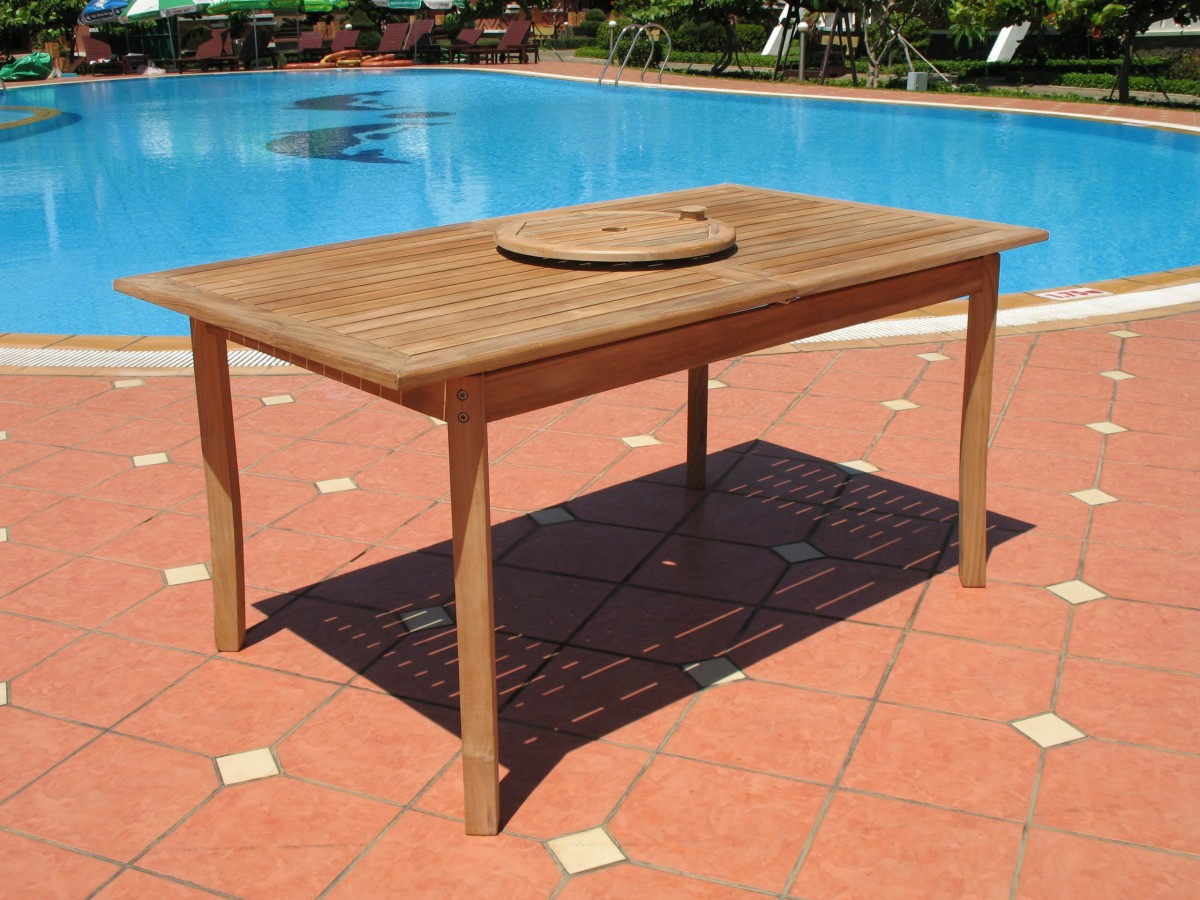 Pebble lane living 7 piece teak patio dining set patio table for 7 piece dining set with bench