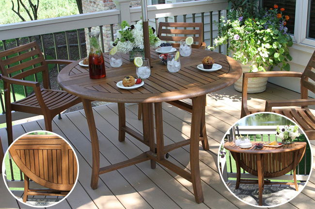 Charming Outdoor Interiors 48 Inch Round Folding Table