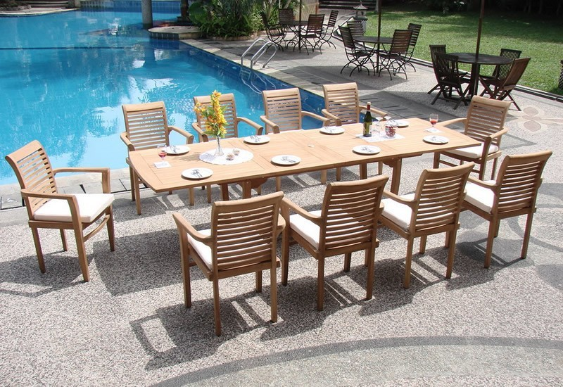 Grade-A Teak 117′ Wood Rectangular Outdoor Dining Table