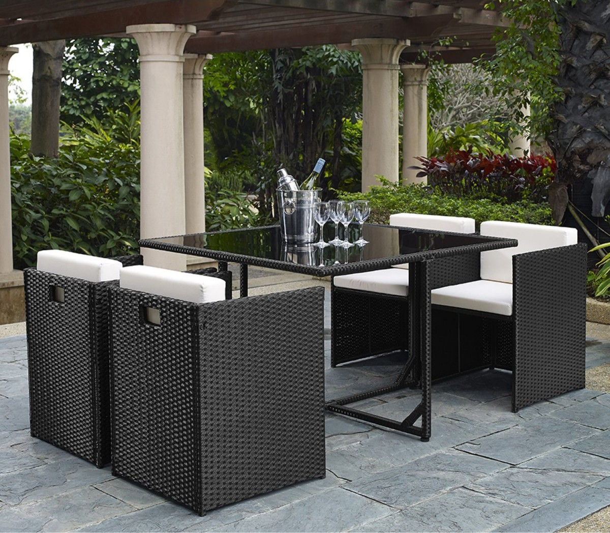 5 piece rattan cube garden furniture set w stowaway chairs for Garden patio table