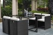 5 Piece Rattan Cube Garden Furniture Set w/ Stowaway Chairs