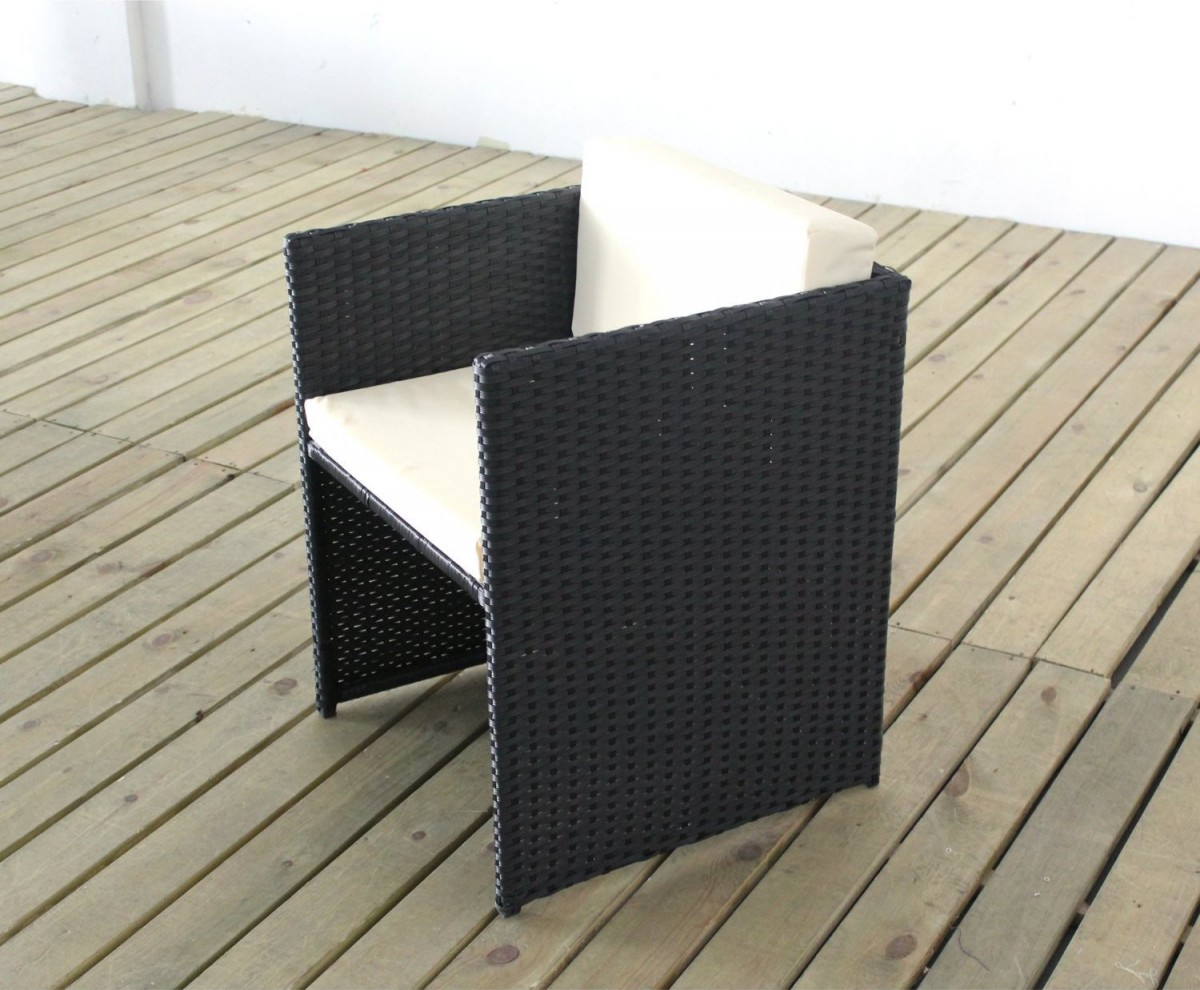 5 Piece Rattan Cube Garden Furniture Set w/ Stowaway Chairs