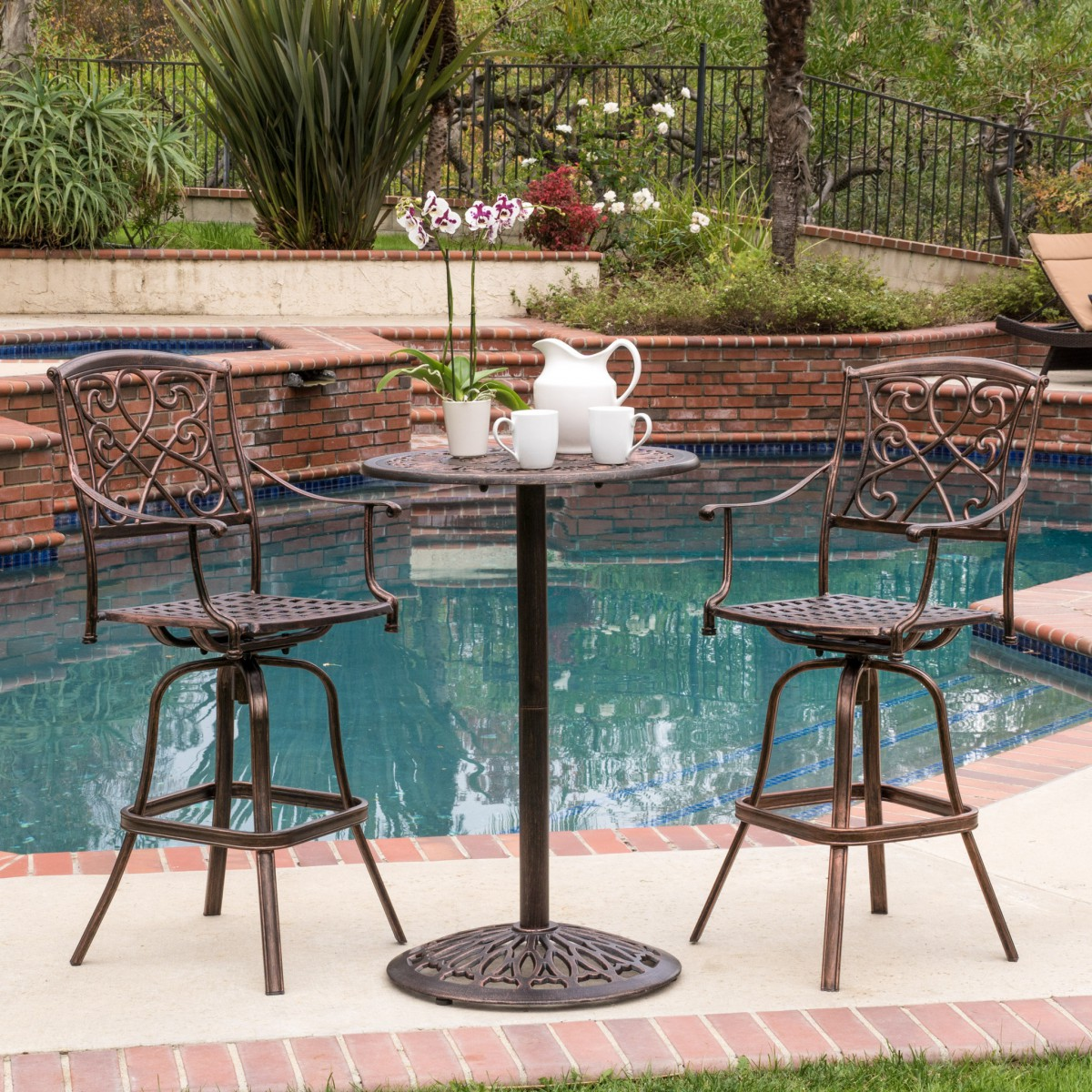 Paris Cast Aluminum 3 Piece Bar Height Outdoor Bistro Set