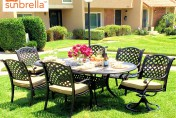 Coastlink Furniture Nevada 7 Piece Cast Aluminum Outdoor Dining Set with Sunbrella Cushions