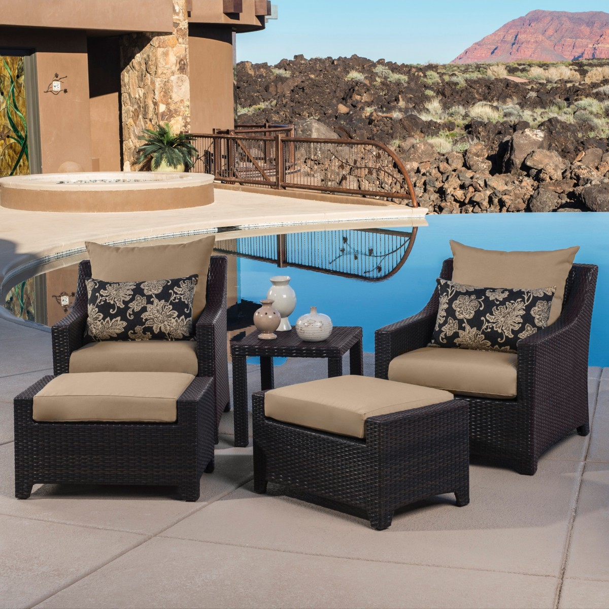 Delano 5 piece Outdoor Chair and Ottoman with Side Table Set Patio Table
