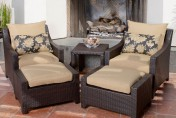 Delano 5-piece Outdoor Chair and Ottoman with Side Table Set