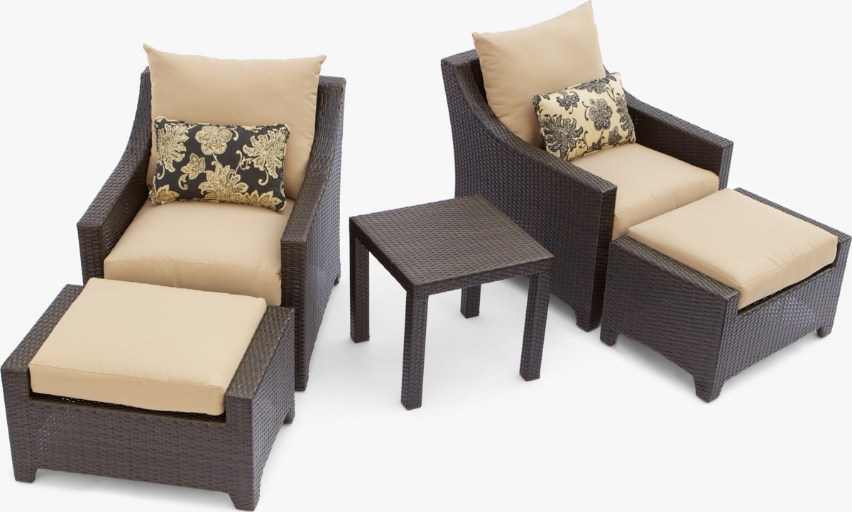 Delano 5 Piece Outdoor Chair And Ottoman With Side Table