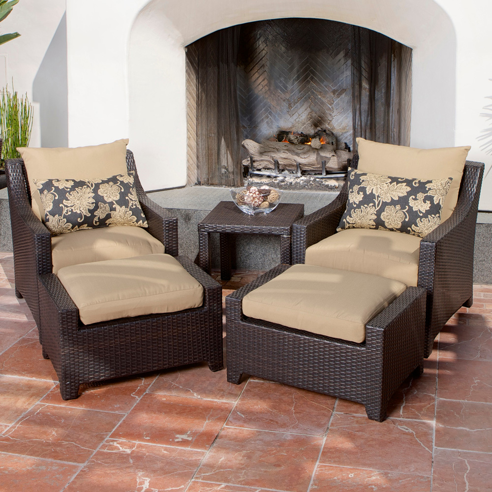 Delicieux Delano 5 Piece Outdoor Chair And Ottoman With Side Table Set