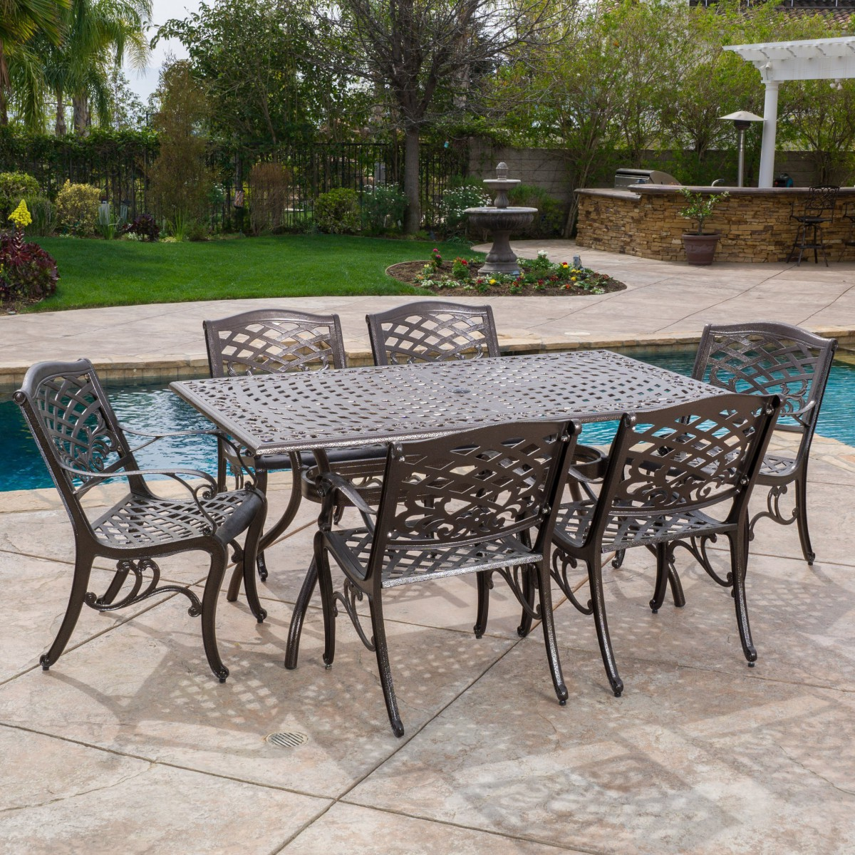Odena Cast Aluminum 7 Piece Outdoor Dining Set With