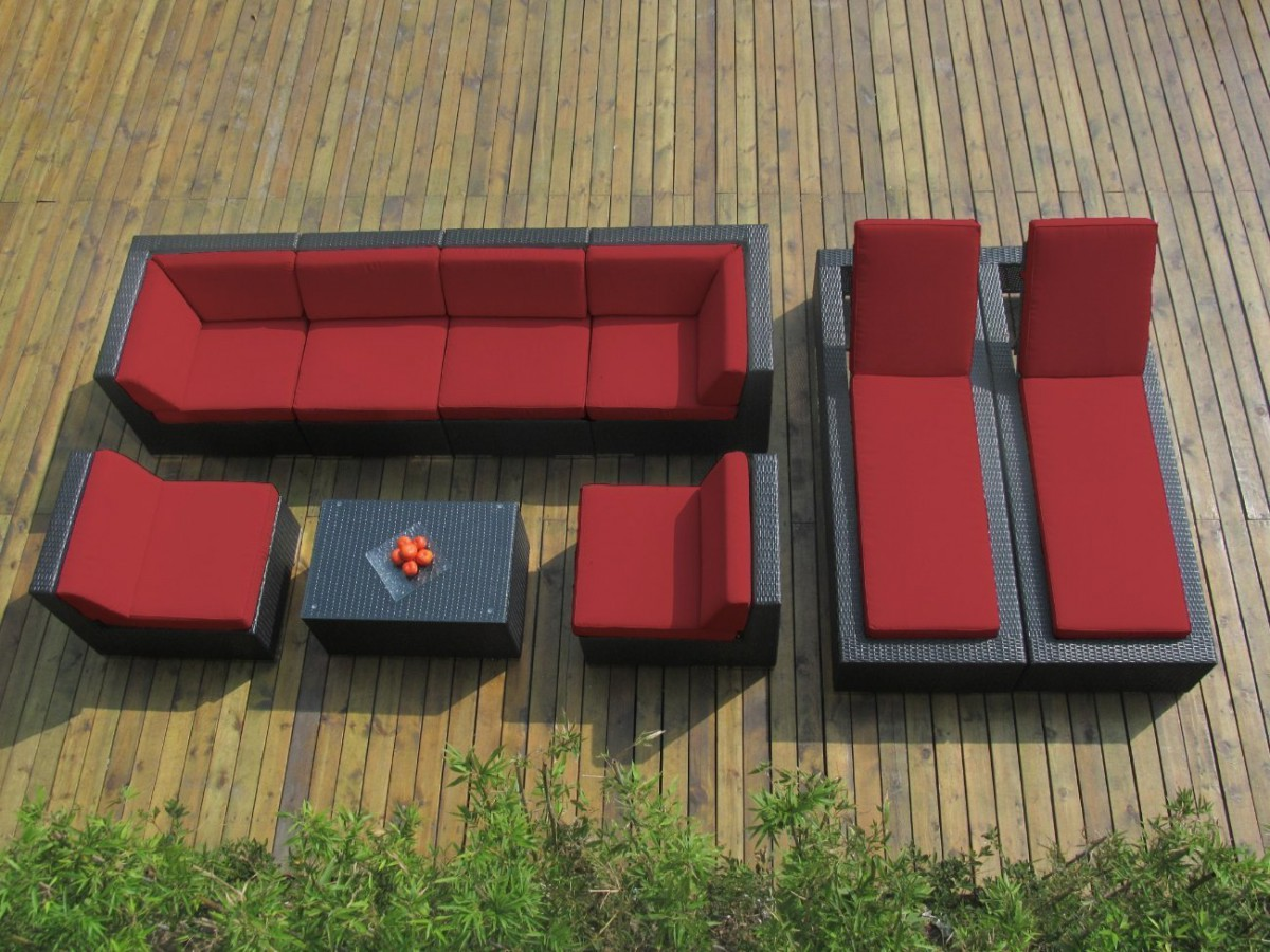 Ohana Collection 9pc Outdoor Sectional Sofa / Chaise Lounge Set