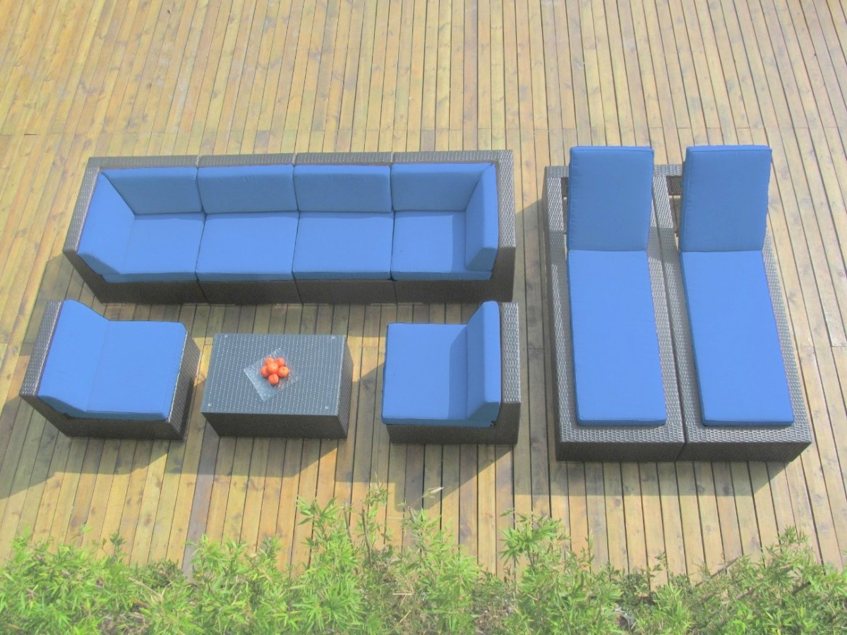 Ohana collection outdoor sectional sofa chaise lounge set for Patio lounge sets