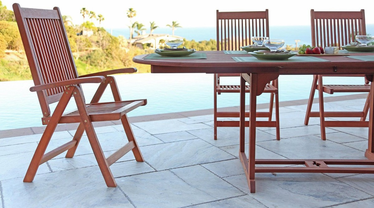 Vifah V144SET1 Wood 7 Piece Patio Dining Set with Oval  : vifah v144set1 wood 7 piece patio dining set with oval extension table 3 1200x668 from www.patiotable.co size 1200 x 668 jpeg 185kB