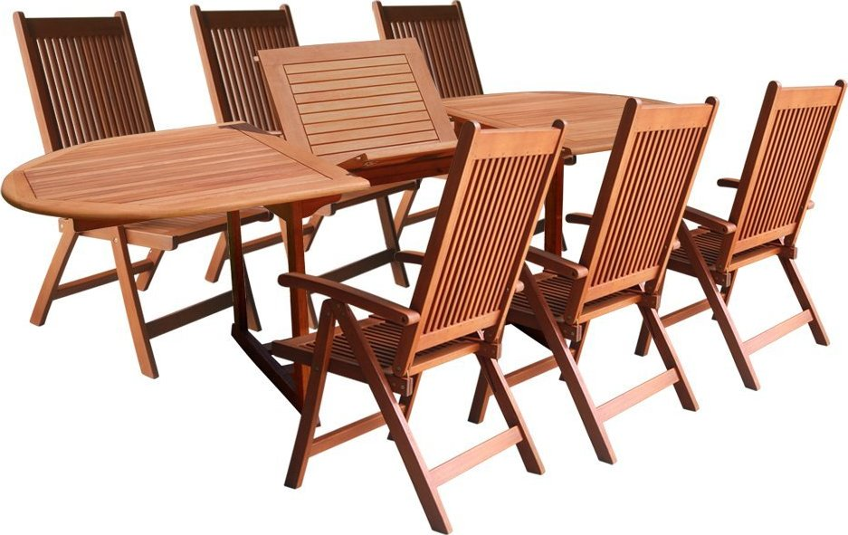 Vifah V144SET1 Wood 7-Piece Patio Dining Set with Oval Extension Table