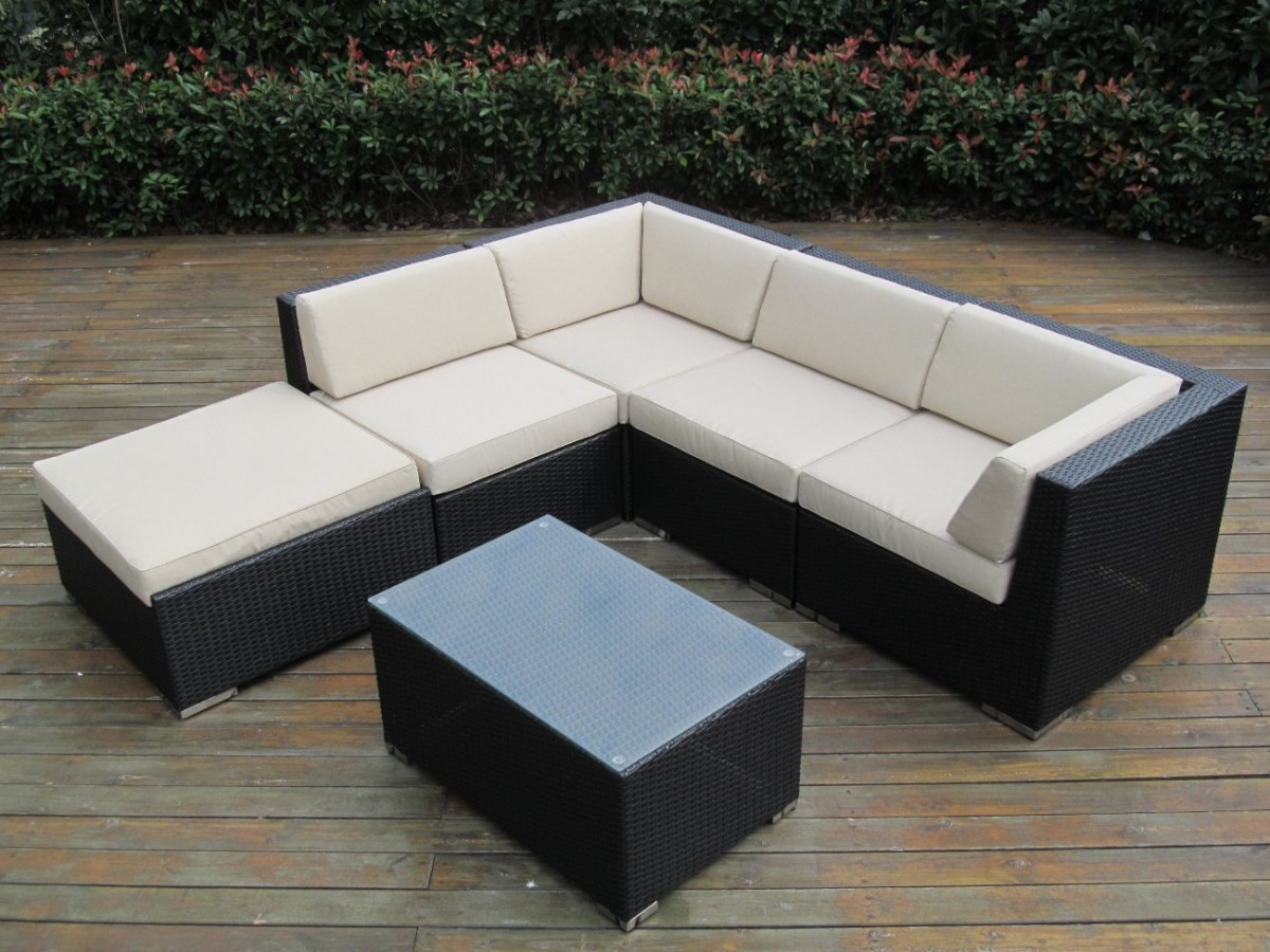 Ohana collection 6pc sunbrella outdoor sectional sofa set for Sectional sofas for outdoor