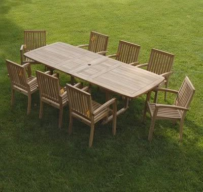 Bayview Patio Grade-A Teak 9-Piece Patio Dining Set with Double Extension Table