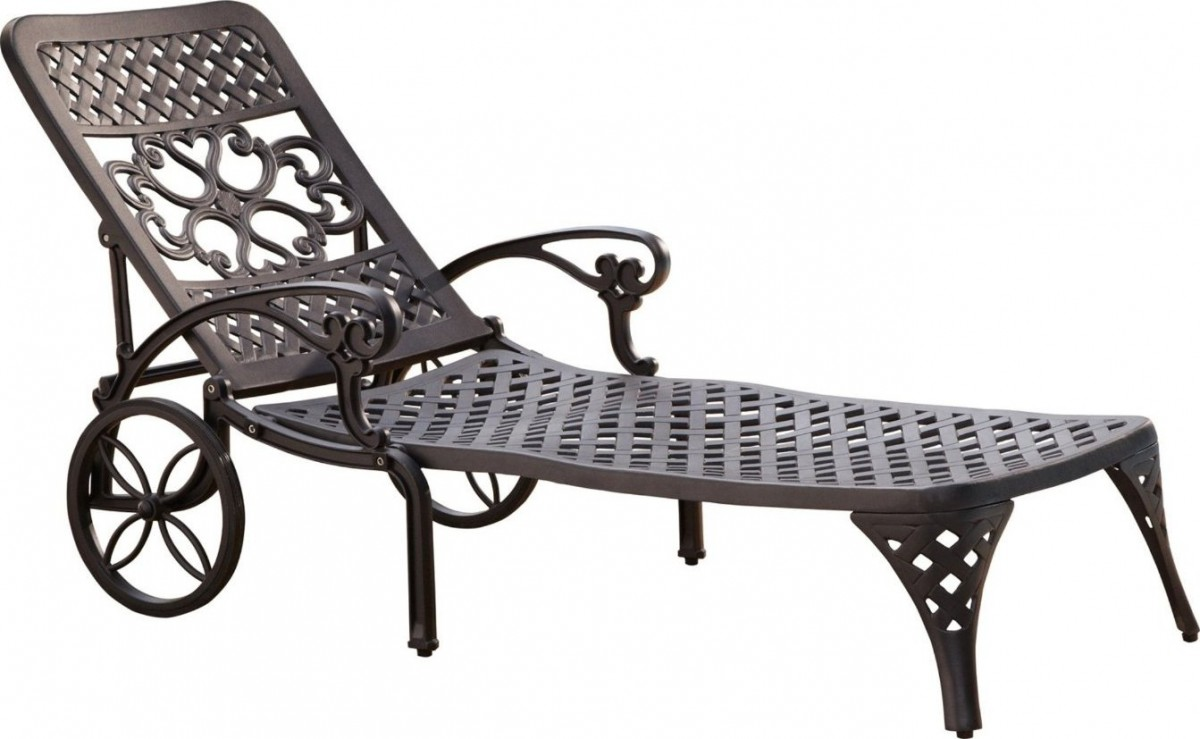 Home styles biscayne outdoor chaise lounge chair with wheels for Black metal chaise lounge outdoor