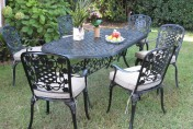 Outdoor Cast Aluminum 7 Piece Dining Set with Cushions