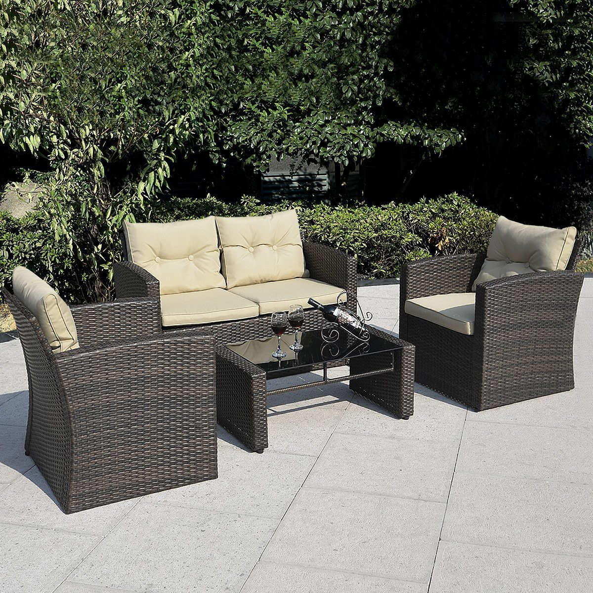 patio couch set  giantex pc wicker sofa outdoor patio furniture set x