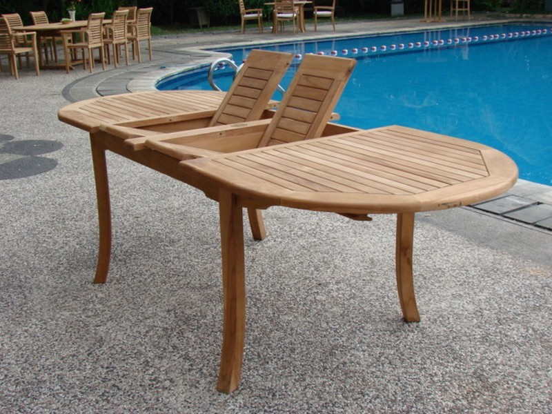 Grade A Teak Wood Large Double Extension 94 Oval Dining Table Patio Tables Garden Outdoor