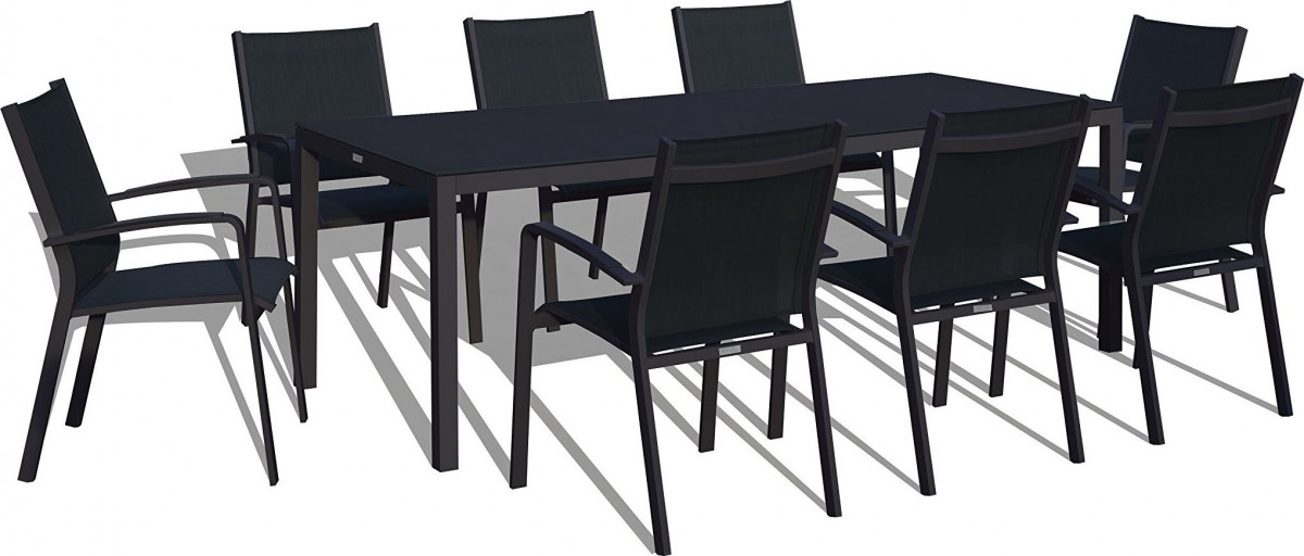 Urban Furnishing Modern Aluminum 9 Piece Outdoor Dining Set with Stackable Chairs