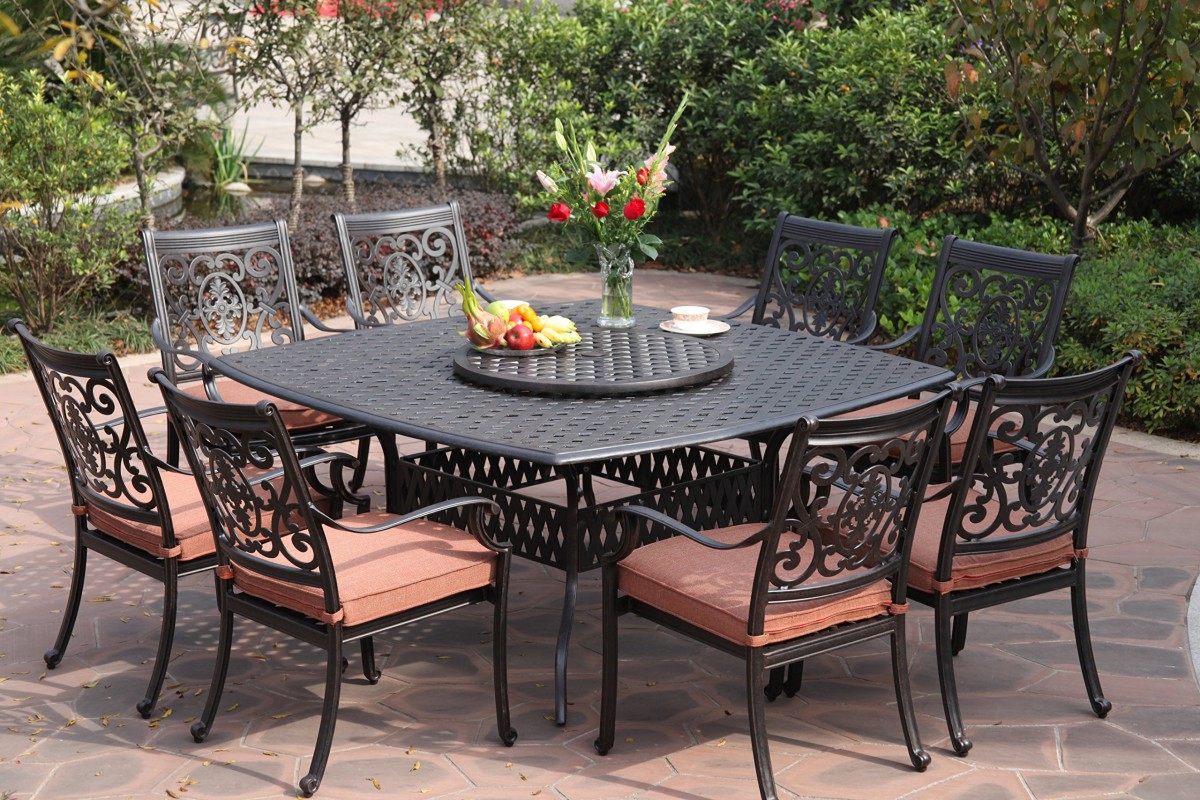 Darlee st cruz 10 piece cast aluminum patio dining set for Patio furniture table set