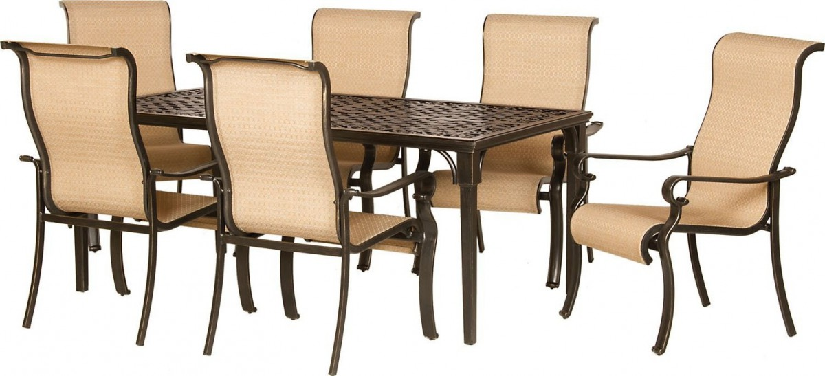 Hanover Brigantine 7 Piece Outdoor Dining Set in Brown and Tan