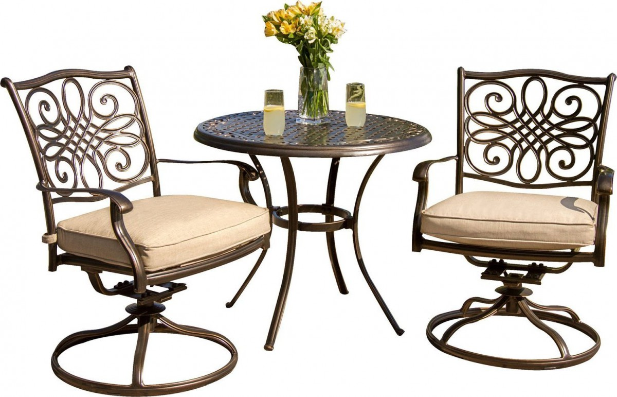 Hanover Traditions 3-Piece Outdoor Bistro Set with Cushioned Swivel Rocker Chairs