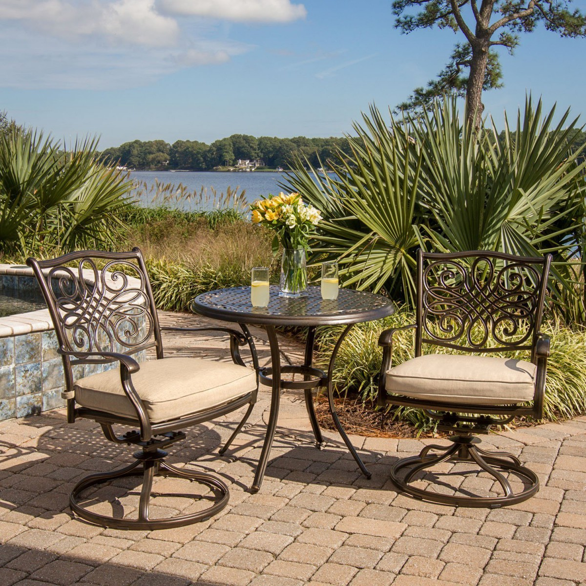 Hanover Traditions 3 Piece Outdoor Bistro Set With Cushioned Swivel Rocker  Chairs
