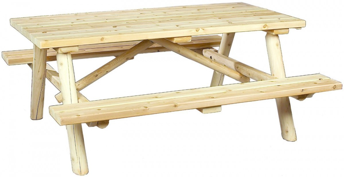 Cedarlooks Rustic Log Cedar Wood Picnic Table Bench