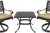 Coastlink Furniture Nevada 3 Piece Cast Aluminum Outdoor Bistro Set with Swivel Rocker Chairs