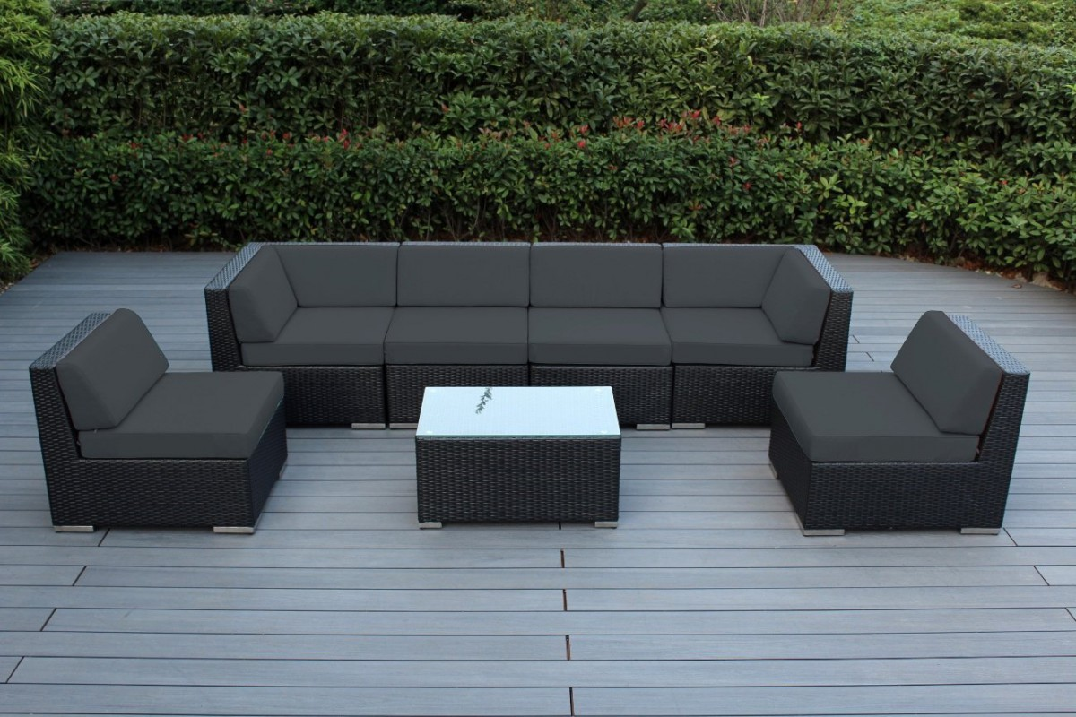 Ohana collection 7pc sunbrella outdoor sectional sofa set for Sectional patio furniture