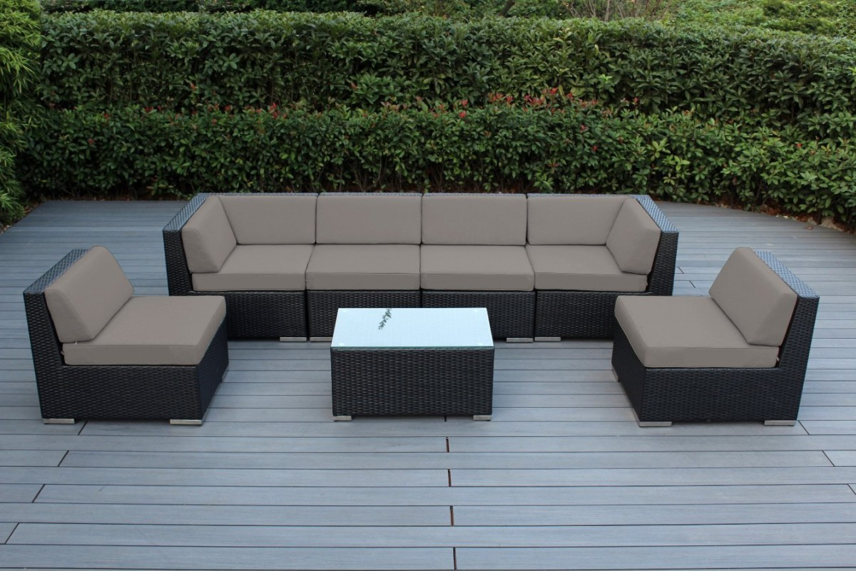 Ohana collection 7pc sunbrella outdoor sectional sofa set for Sectional sofas for outdoor