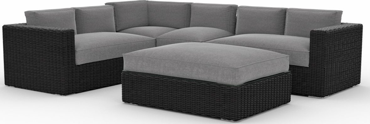 Ordinaire Toja Patio Furniture Yorkville 5 Piece Outdoor Sectional Sofa Set With Sunbrella  Cushions