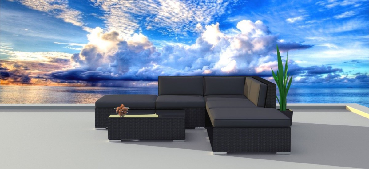 Urban Furnishing BLACK SERIES Outdoor Sectional Sofa Set